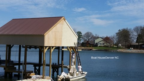 Exterior Painting of a boathouse in Denver, NC