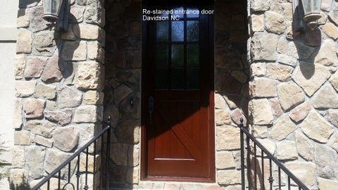 Re-Stained Entrance Door Davidson, NC
