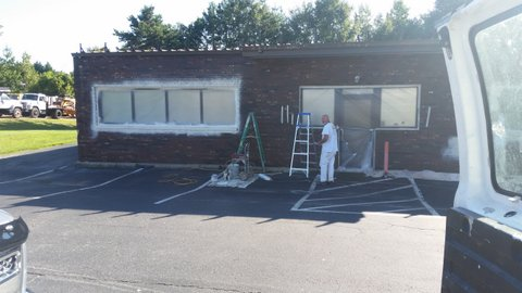 Before Exterior Painting of a Commercial Building in Denver, NC
