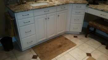 Cabinet repaint by R and R Painting NC LLC in Denver, NC